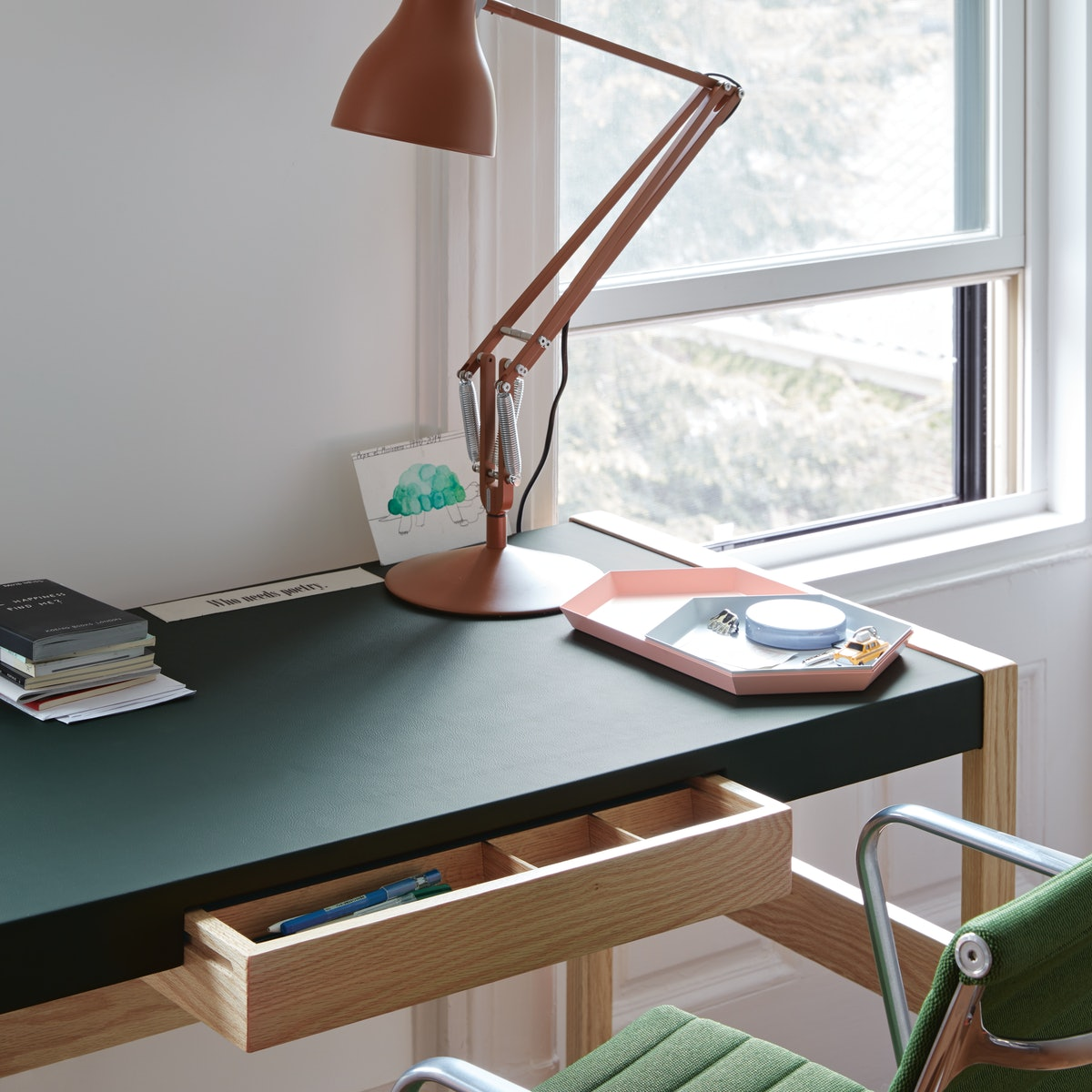 Risom Desk with Type 75 Task Lamp