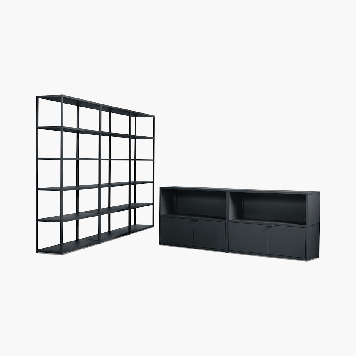 New Order Set – Media Unit + High Triple Bookshelf