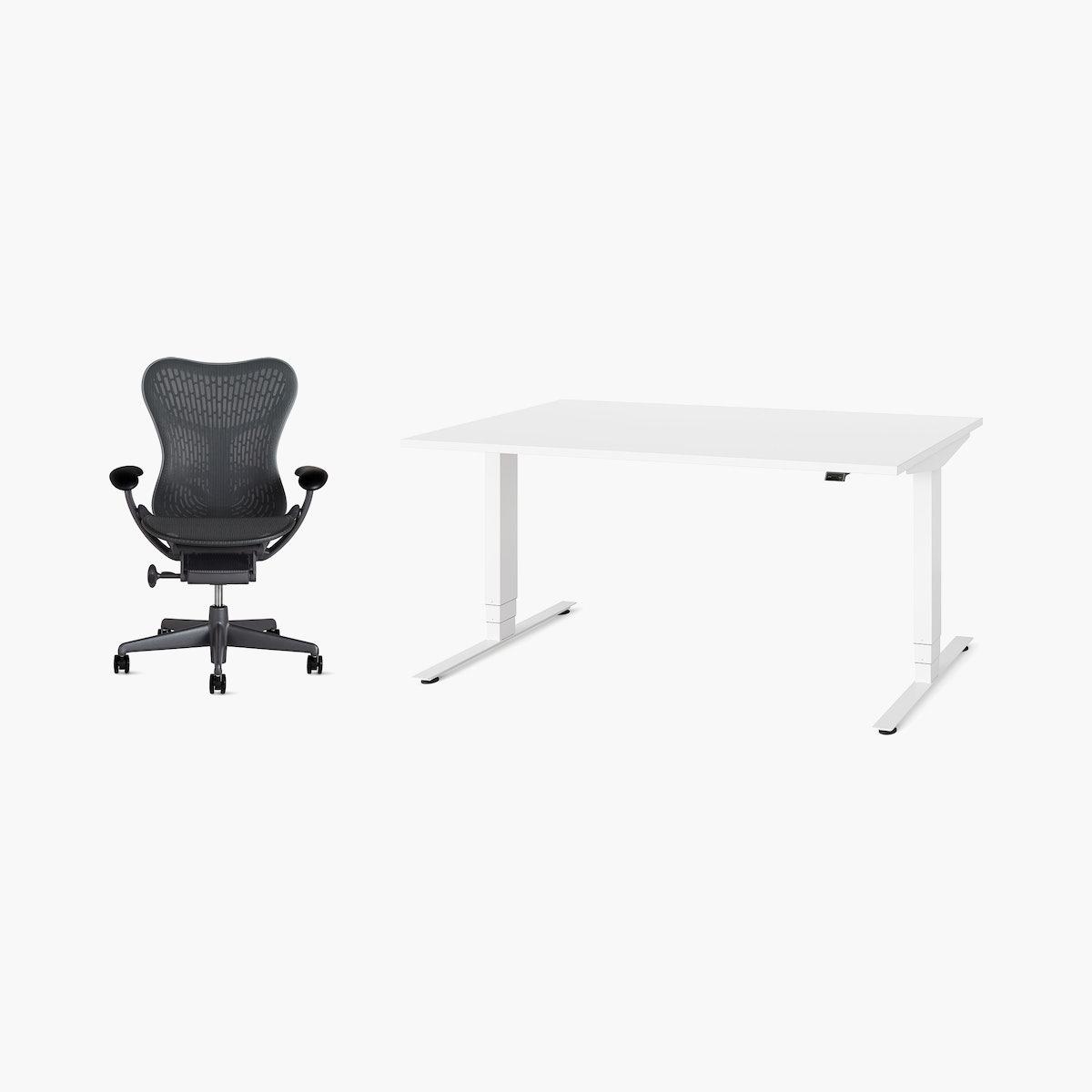 Mirra 2 / Nevi Sit-to-Stand Desk Office Bundle