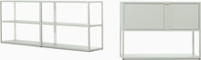 New Order Set - Double Low Bookshelf and Low Bookshelf with Storage