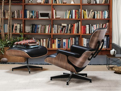 Eames Lounge Chair in front of bookshelf