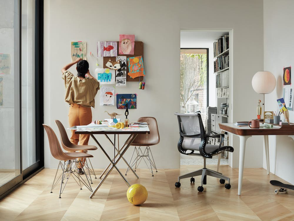 Nelson X Leg Desk 30X72 with  Eames Molded Plywood Side Chair
