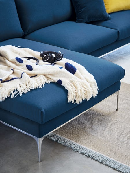 Jonas Sectional with Chaise and Abstract Throw