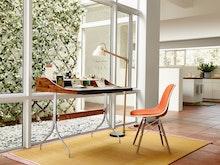 Eames Molded Fiberglass Side Chair Dowel Leg Upholstered Dfsw
