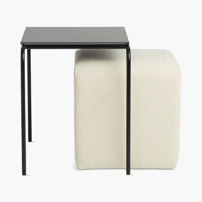 Fellow Nesting Table with Pouf