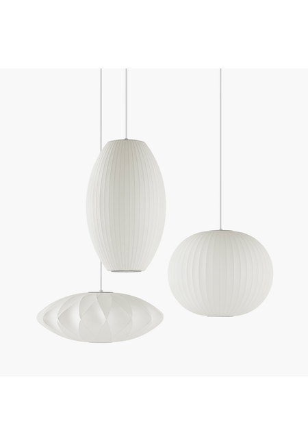 Three Nelson Pendant Bubble Lamps in various shapes and sizes.