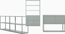 New Order Set - Single High Bookshelf,  Double Low Bookcase and Single Credenza