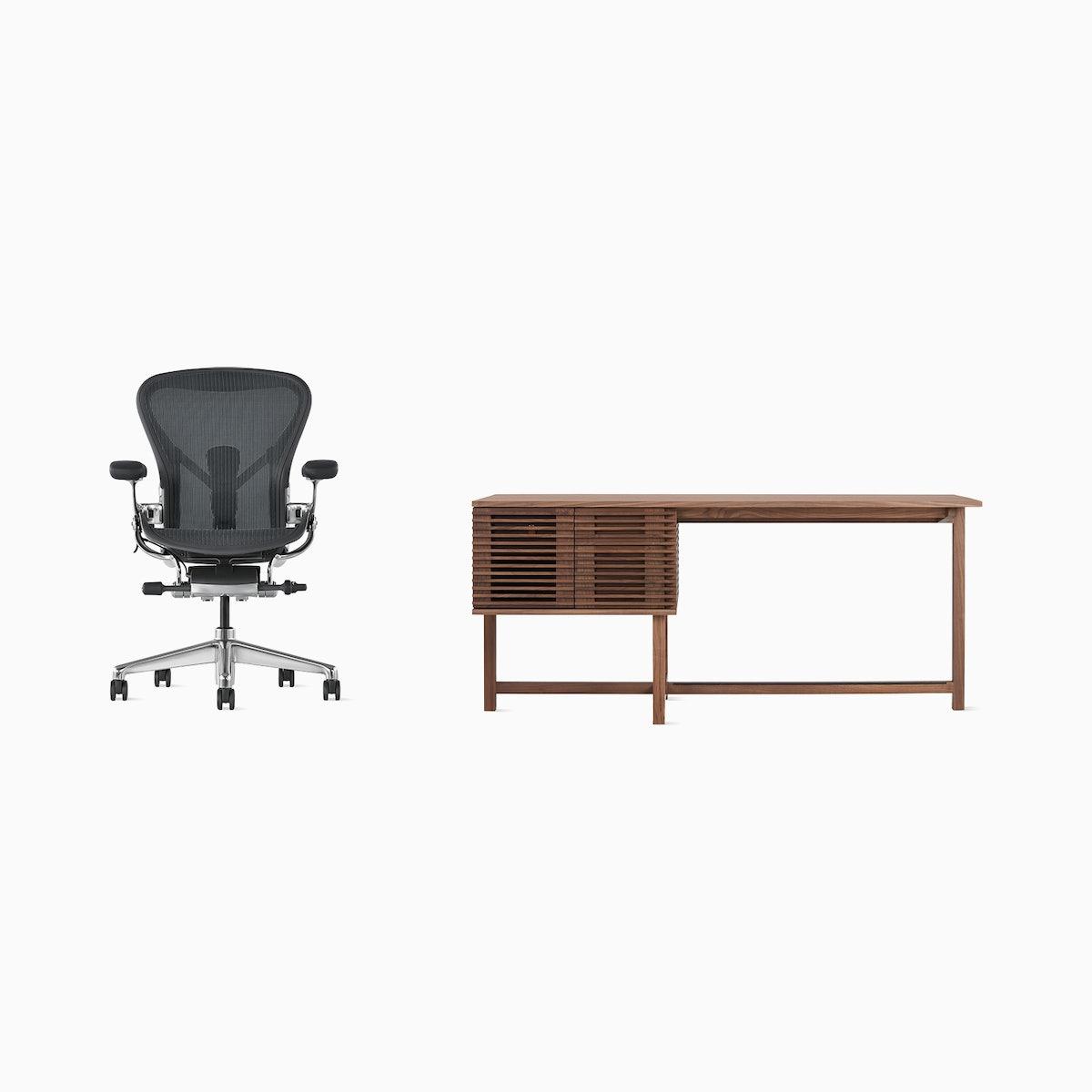 Aeron Chair / Line Storage Desk Office Bundle
