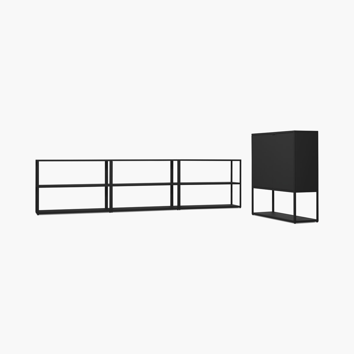 New Order Set – Low Triple Bookshelf + Cabinet