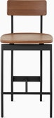 An walnut counter height Betwixt Stool with a black frame.