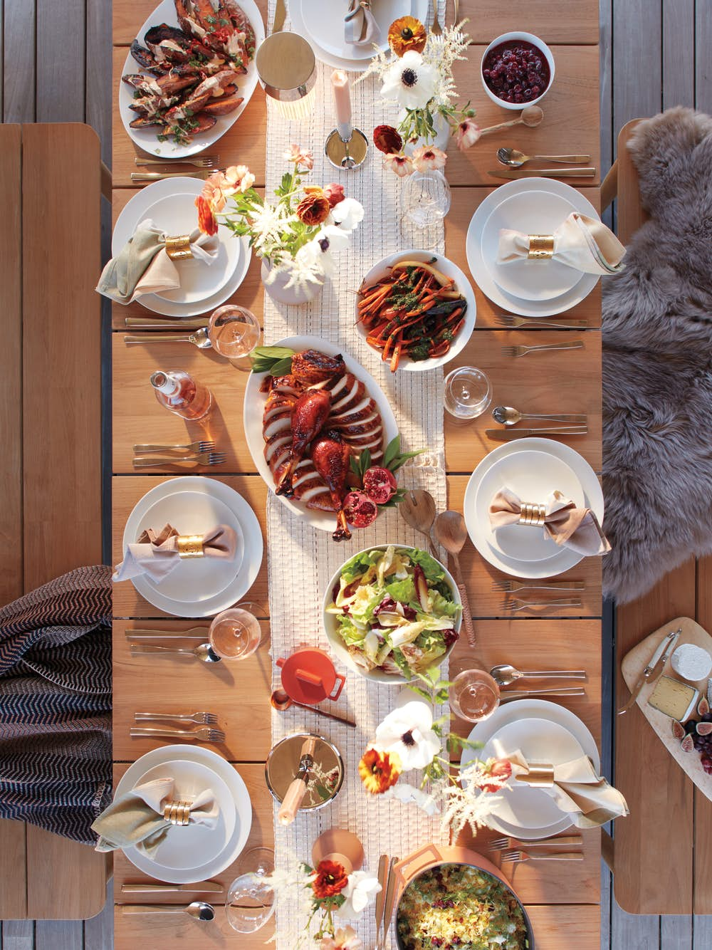 Terassi Dining Table with Thanksgiving dinner setup overhead