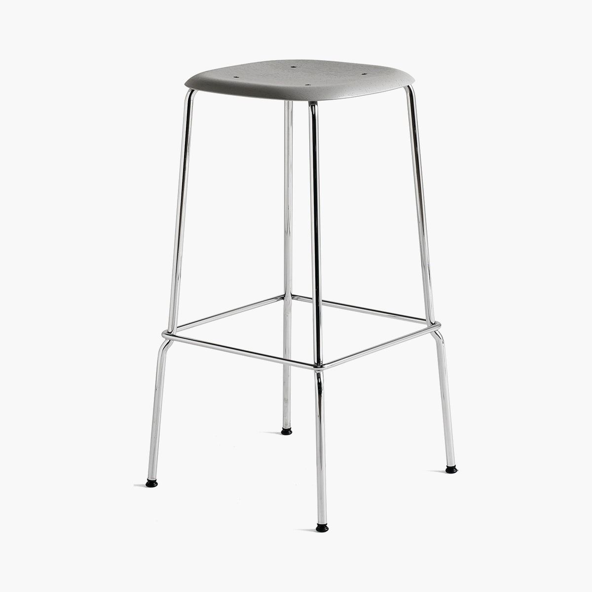 Soft Edge 30 High - Barstool, Soft Grey Stained Seat, Chrome Base