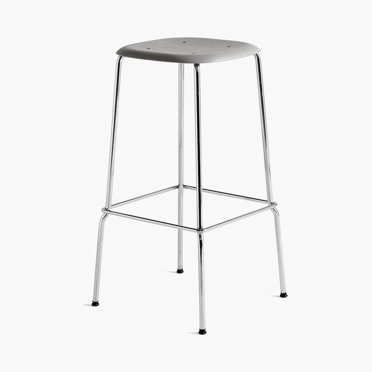 Soft Edge 30 High - Barstool, Soft Grey Stained Seat, Chrome Base