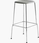 A Soft Edge 30 High Barstool in grey and chrome.