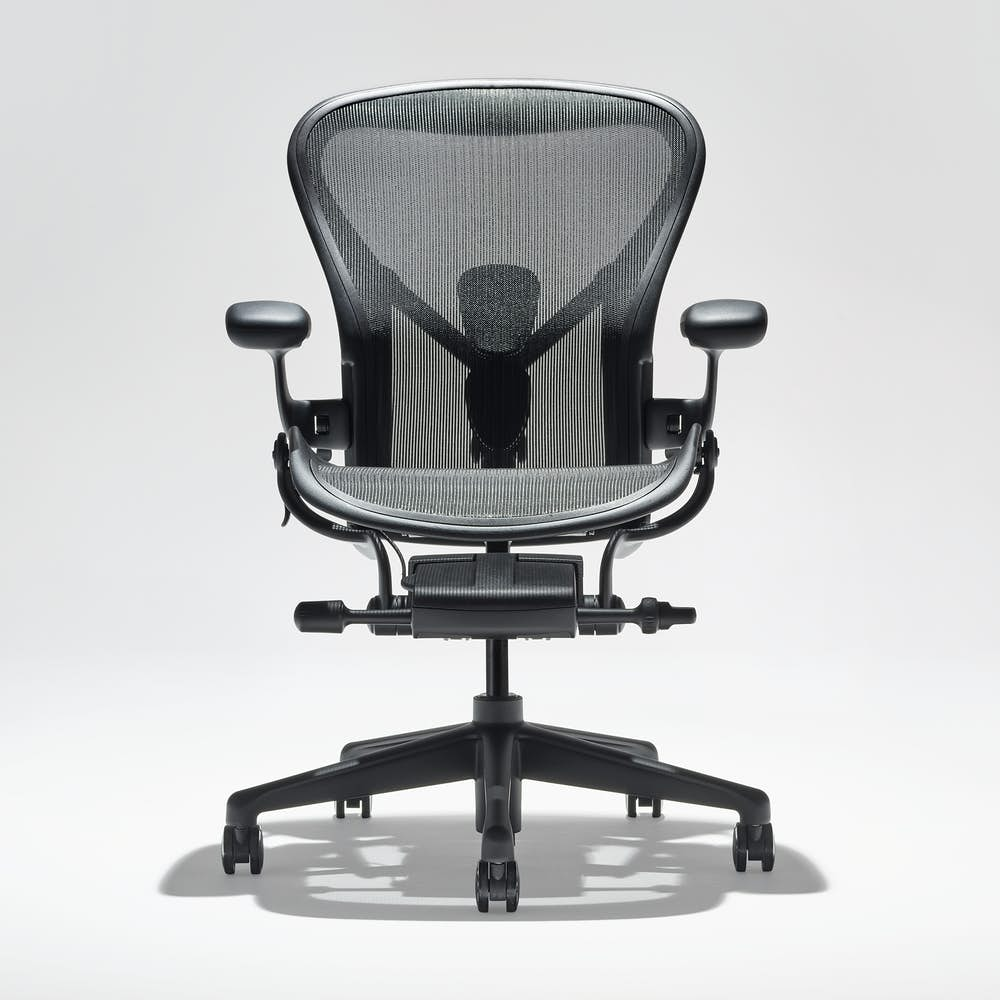 Front view of Aeron chair in Onyx
