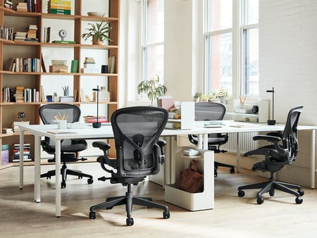 Aeron chairs and Everywhere table in office.