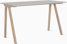 A grey Copenhague 90 Desk viewed from an angle