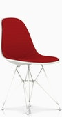 Eames Upholstered Molded Plastic Side Chair DSR - Wire Leg