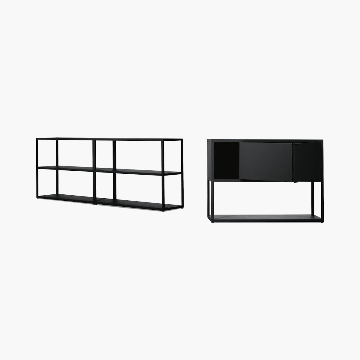 New Order Set - Low Double Bookshelf + Low Single Bookshelf with Storage