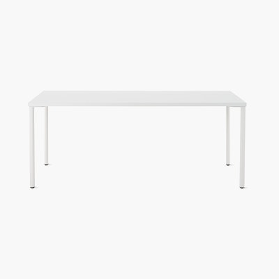 OE1 Rectangular Table with white surface and white legs viewed from the front.