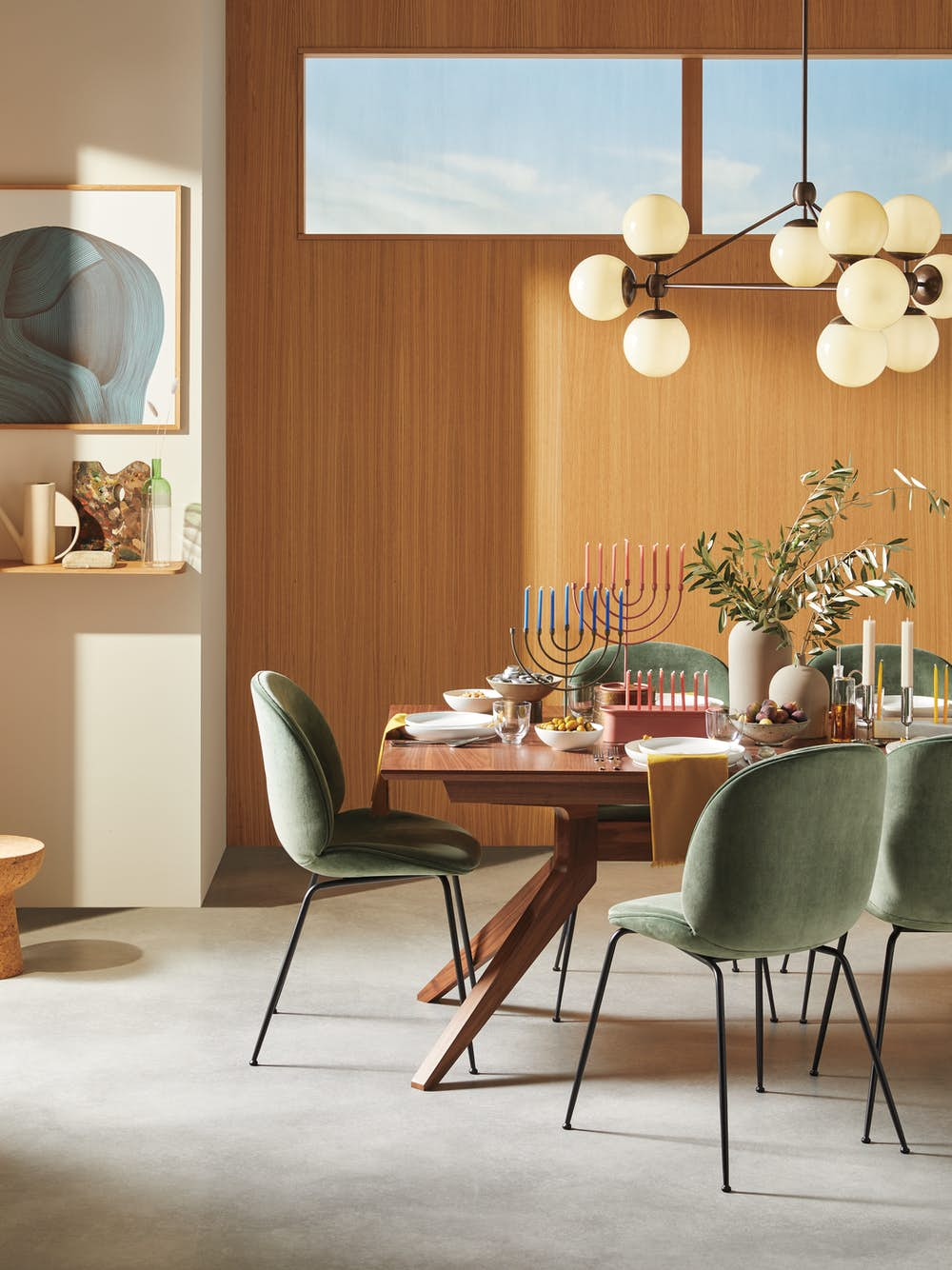 Cross Extension Table with Beetle Chairs - Hanukkah Version