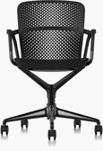 Black Keyn chair with five-star base, viewed from the front.