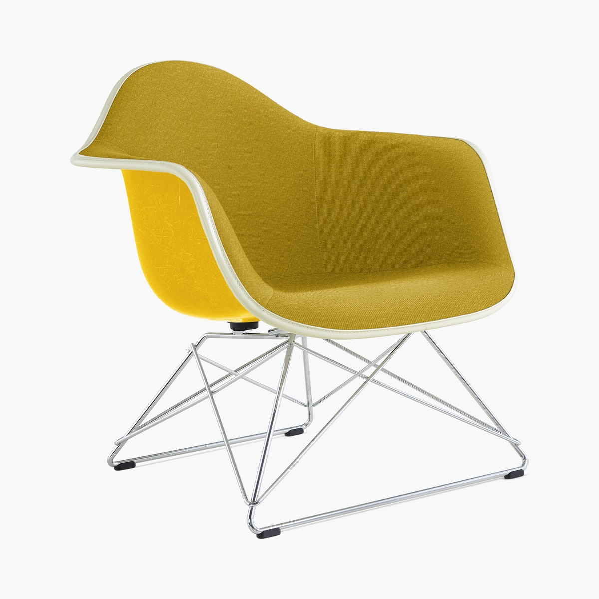 Eames Upholstered Molded Fiberglass Low Wire Base Armchair (LAR)