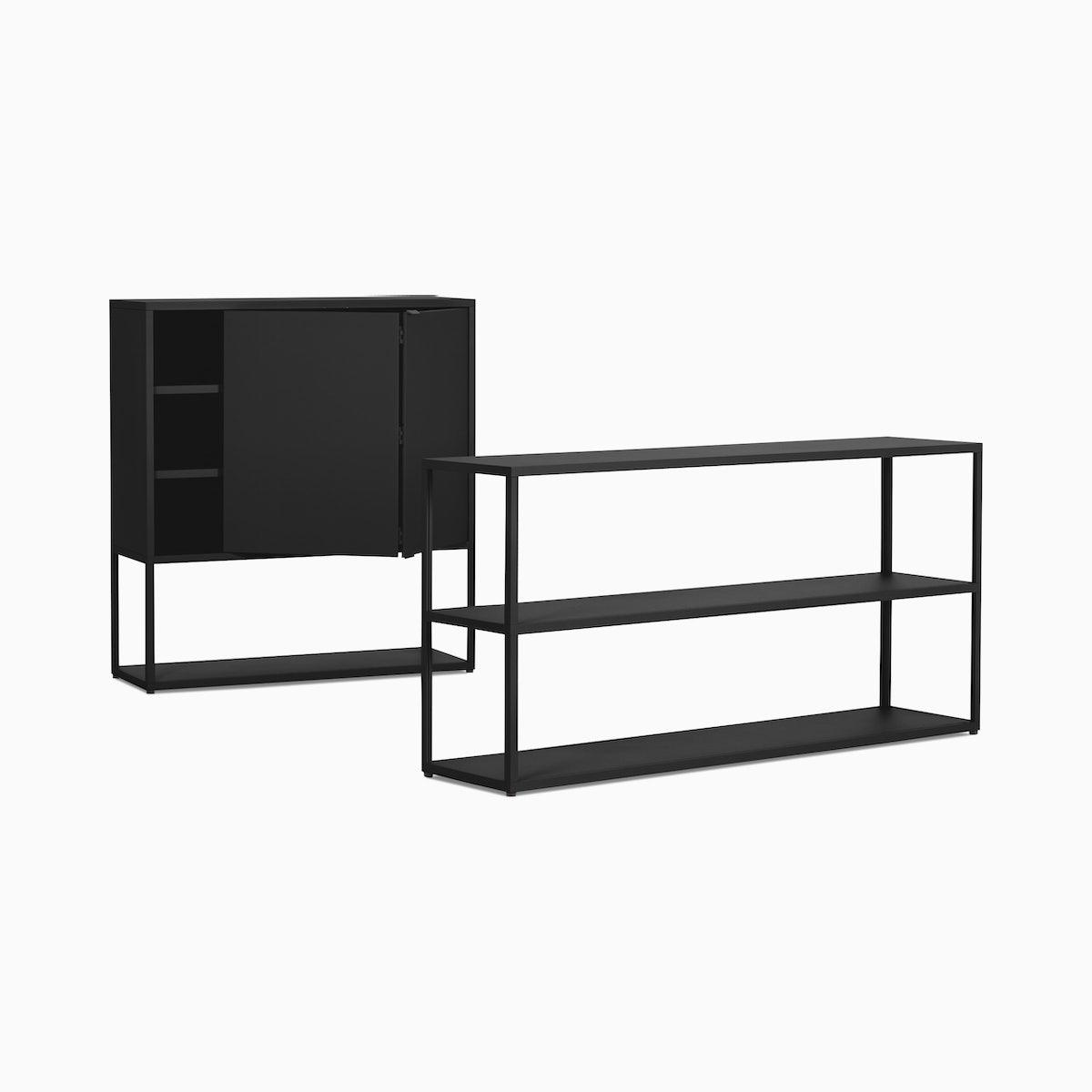 New Order Set – Low Wide Bookshelf + Cabinet