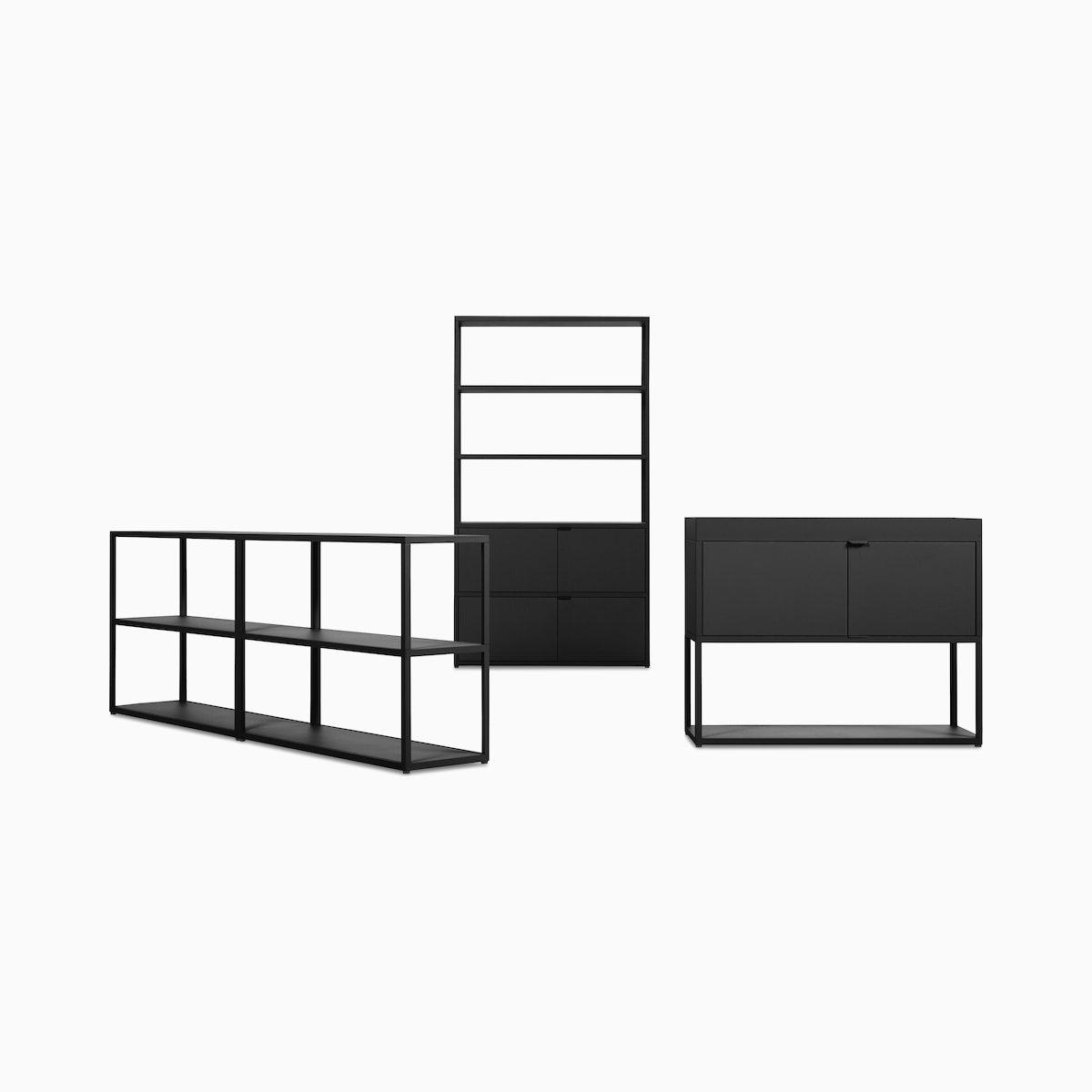 NewOrderSet - High Single Bookshelf + Low Double Bookcase + Single Credenza