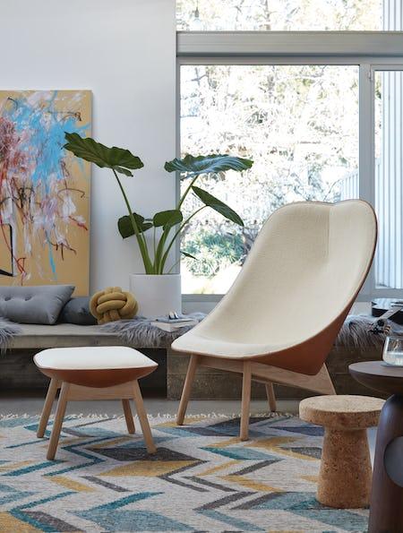 Uchiwa Lounge Chair and Ottoman