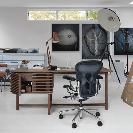 Line Storage Desk in Art Studio with Aeron