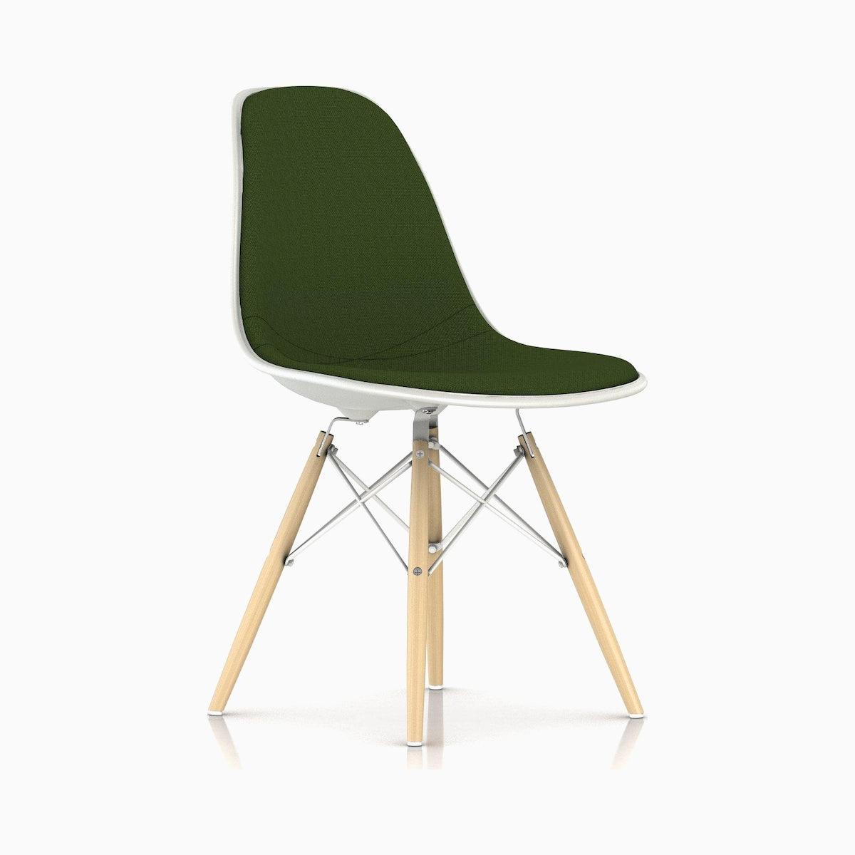 Eames Upholstered Molded Plastic Side Chair - Dowel Leg DSW.U