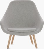 A light grey About A Lounge 92 Armchair with high back viewed from the front
