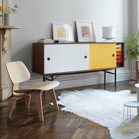 Finn Juhl Credenza with Eames Molded Plywood Lounge Chair