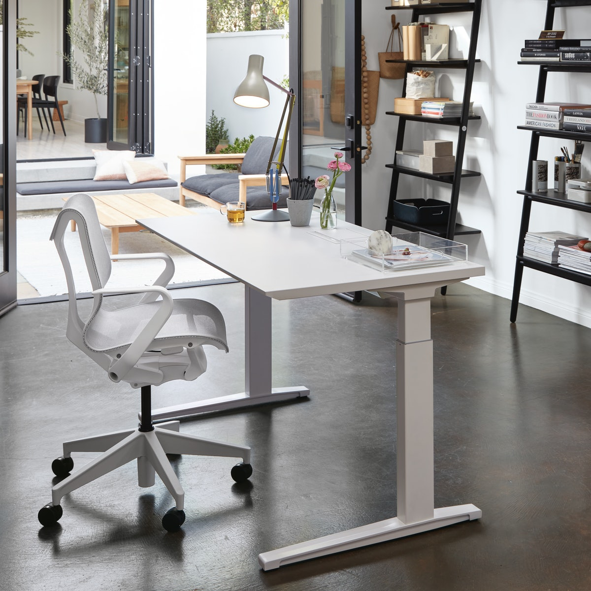 Renew Sit to Stand Desk with Advanced Cord Management with Cosm Chair Low Back