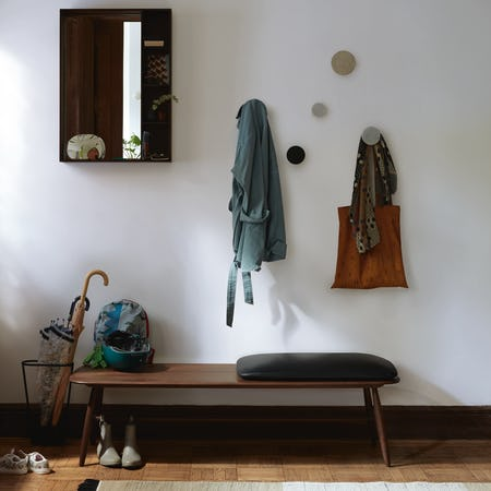Von Bench with Leather Seat Pad in Entryway