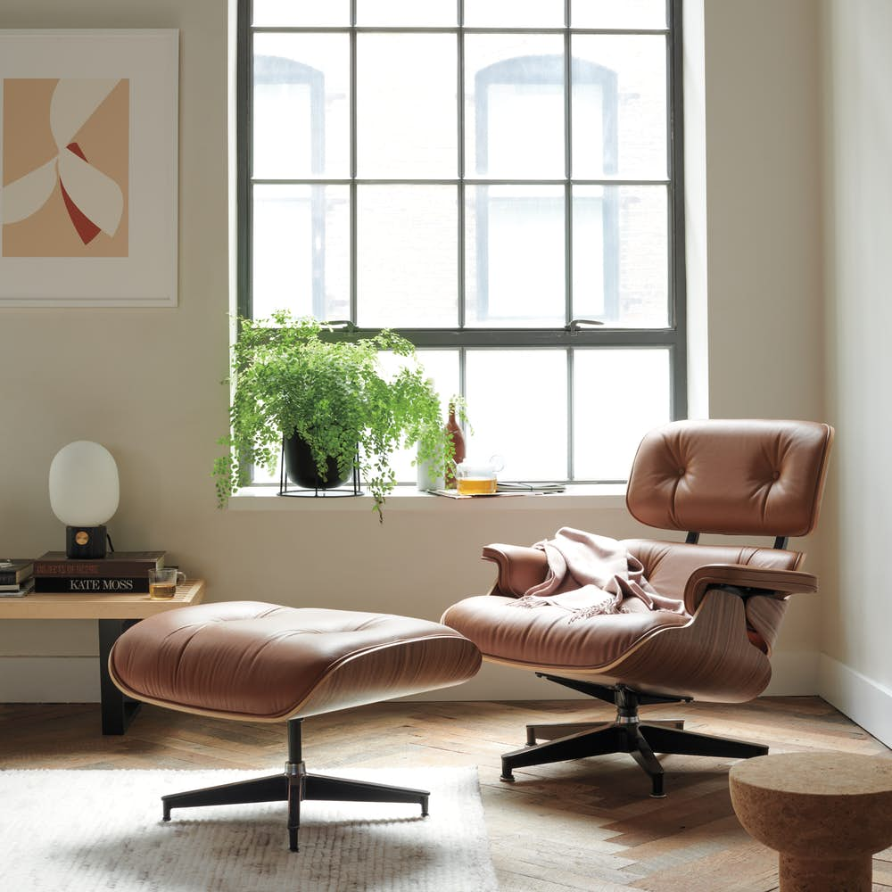 Eames Lounge and Ottoman in Camel